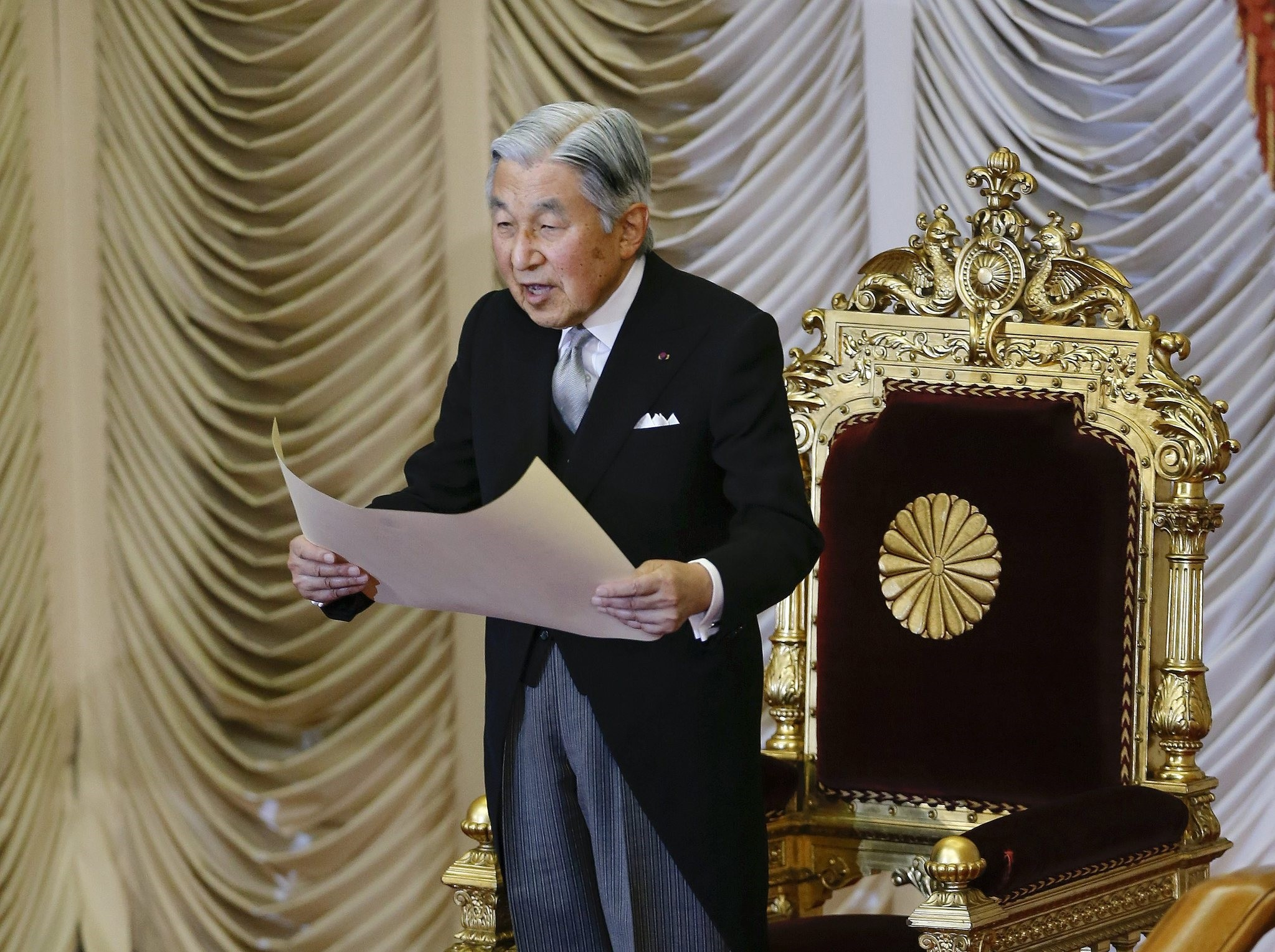 Japan's Emperor Akihito delivers a speech during the opening ceremony of a Diet session in Tokyo, Japan, 01 August 2016. (EPA Photo)