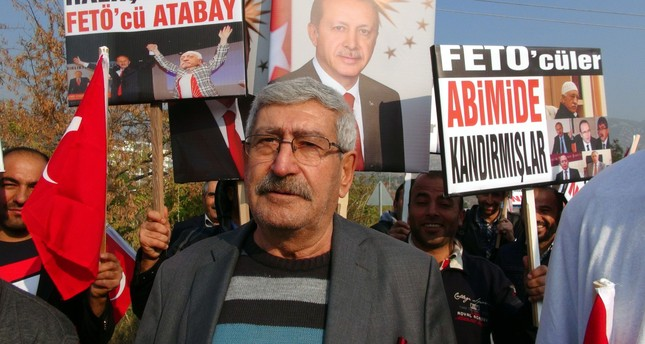 Celal Kılıçaroğlu attended an anti-FETÖ protest in Aydın on Nov. 28, 2016. (AA Photo)