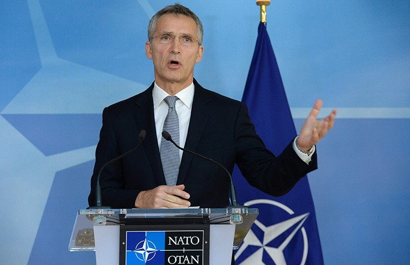 NATO Secretary General Jens Stoltenberg speaks during a press conference with chairman of the Presidency of Bosnia Herzegovina at the NATO headquarters (AFP Photo)