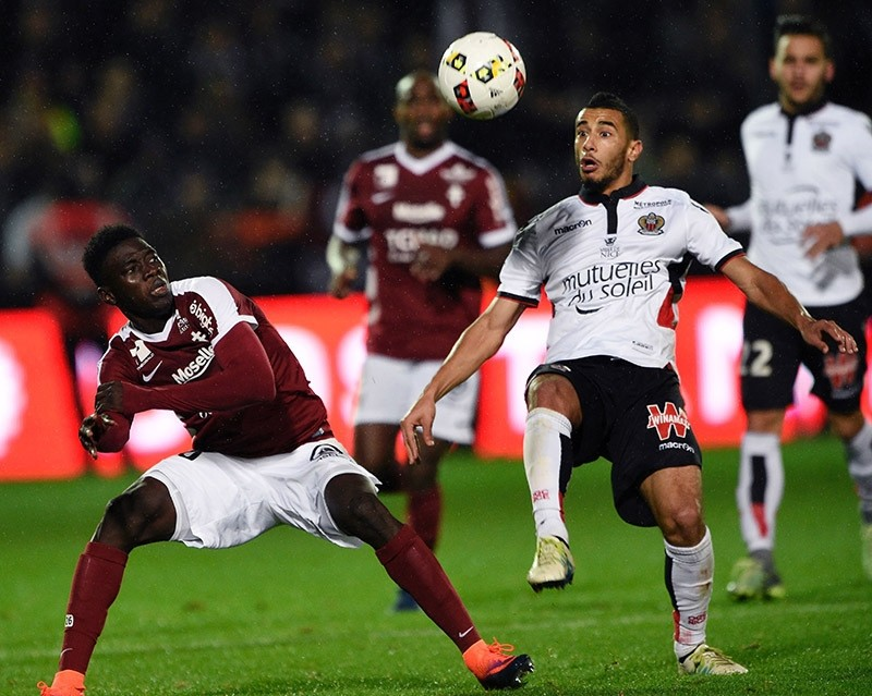 Moroccan midfielder Younes Belhanda during the French L1 football match between Metz (FCM) and Nice (OGCN) on Oct. 23, 2016 at Saint Symphorien stadium in Longeville-Les-Metz, eastern France. (AFP Photo)