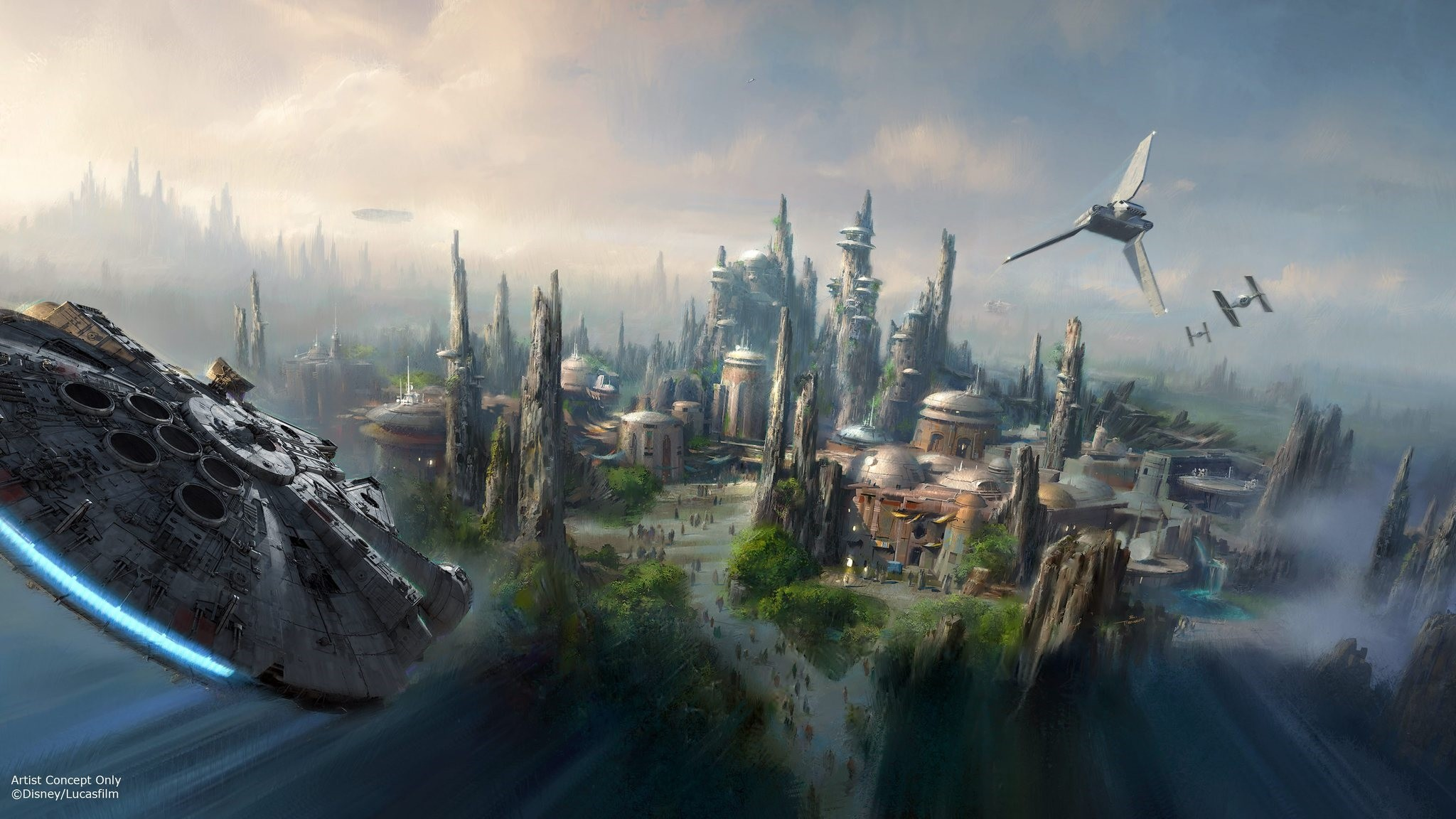 This image provided by Disney parks shows the Star Wars-themed lands will be coming to Disneyland park in California and Disneyu2019s Hollywood Studios in Orlando. (AP Photo)