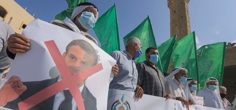 PALESTINIANS TAKE TO STREETS TO PROTEST FRENCH INSULTS AGAINST ISLAMIC VALUES