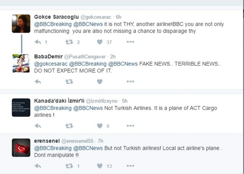 Turkish officials, social media users condemn media outlets for false report on plane crash