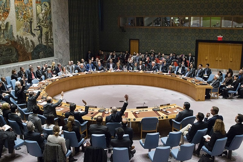 In this image released by the UN, members of the Security Council vote on December 23, 2016, on a resolution to stop Israeli settlements. (AFP Photo)