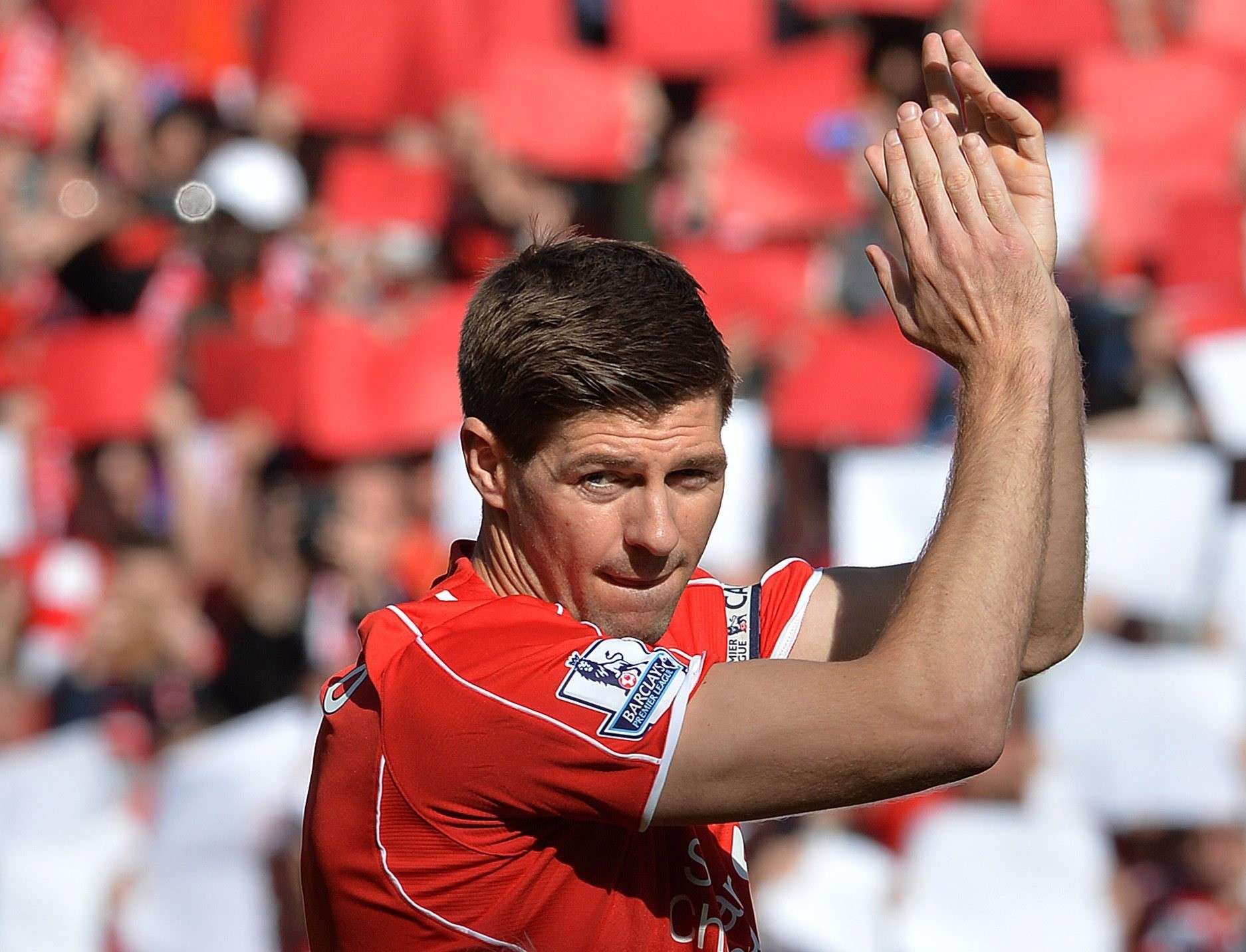 A file picture of Liverpool's Steven Gerrard applauding fans during the English Premier League soccer match between Liverpool and Crystal Palace at the Anfield in Liverpool, Britain, 16 April 2015. (EPA Photo)