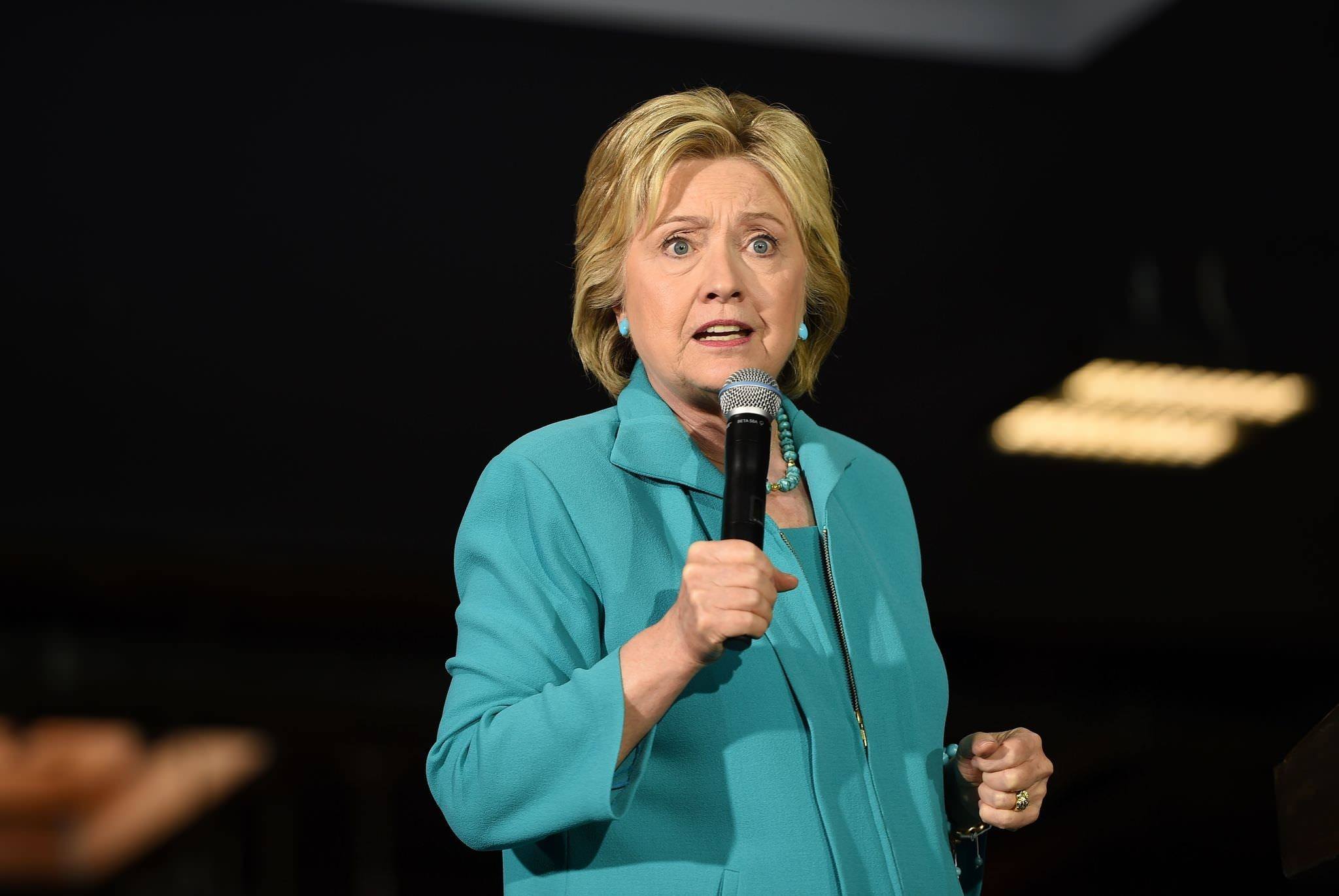 This file photo taken on May 23, 2016 shows Hillary Clinton speaking at the IBEW Local 11 union hall during a campaign event in Commerce, California. (AFP Photo)