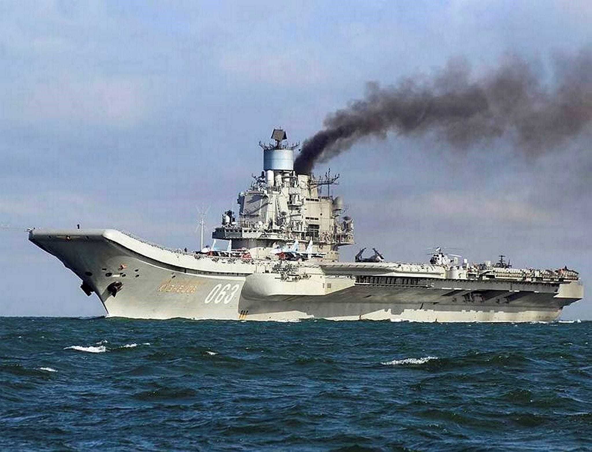 Russian aircraft carrier Admiral Kuznetsov in the English Channel on Oct. 21.