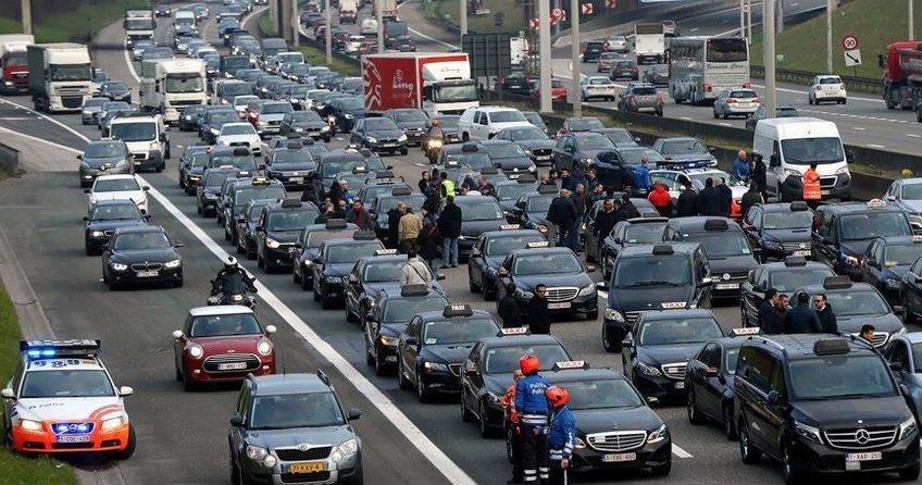 Belçikada Uber protestosu