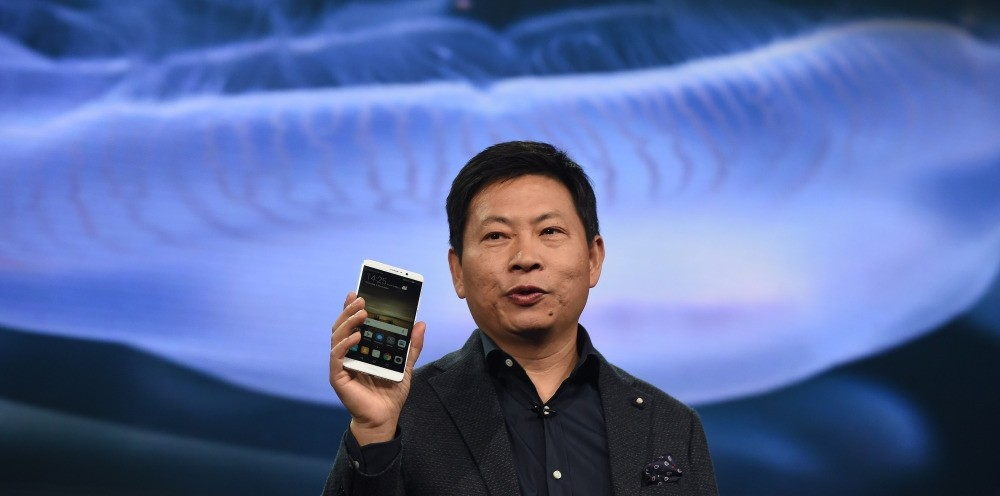 Richard Yu, CEO of Huawei Consumer Business Group, presents the new Huawei Mate 9 high-end phablet during the Huawei Global Product Launch in Munich.