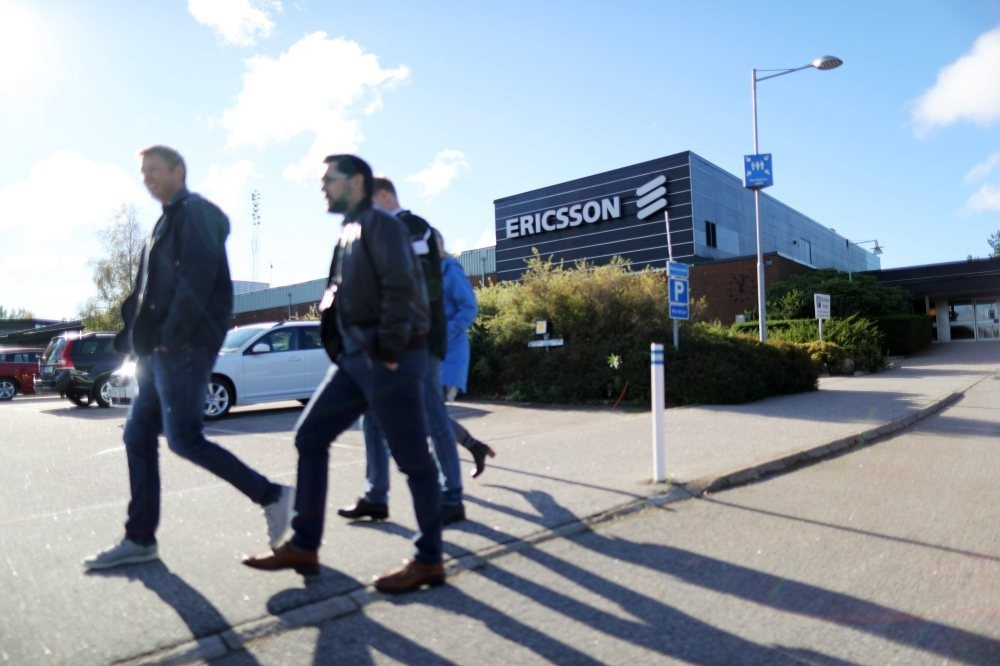 Ericsson workers outside the Ericsson factory in Boras western Sweden.