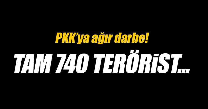 PKK'ya ağır darbe! 740 terörist...