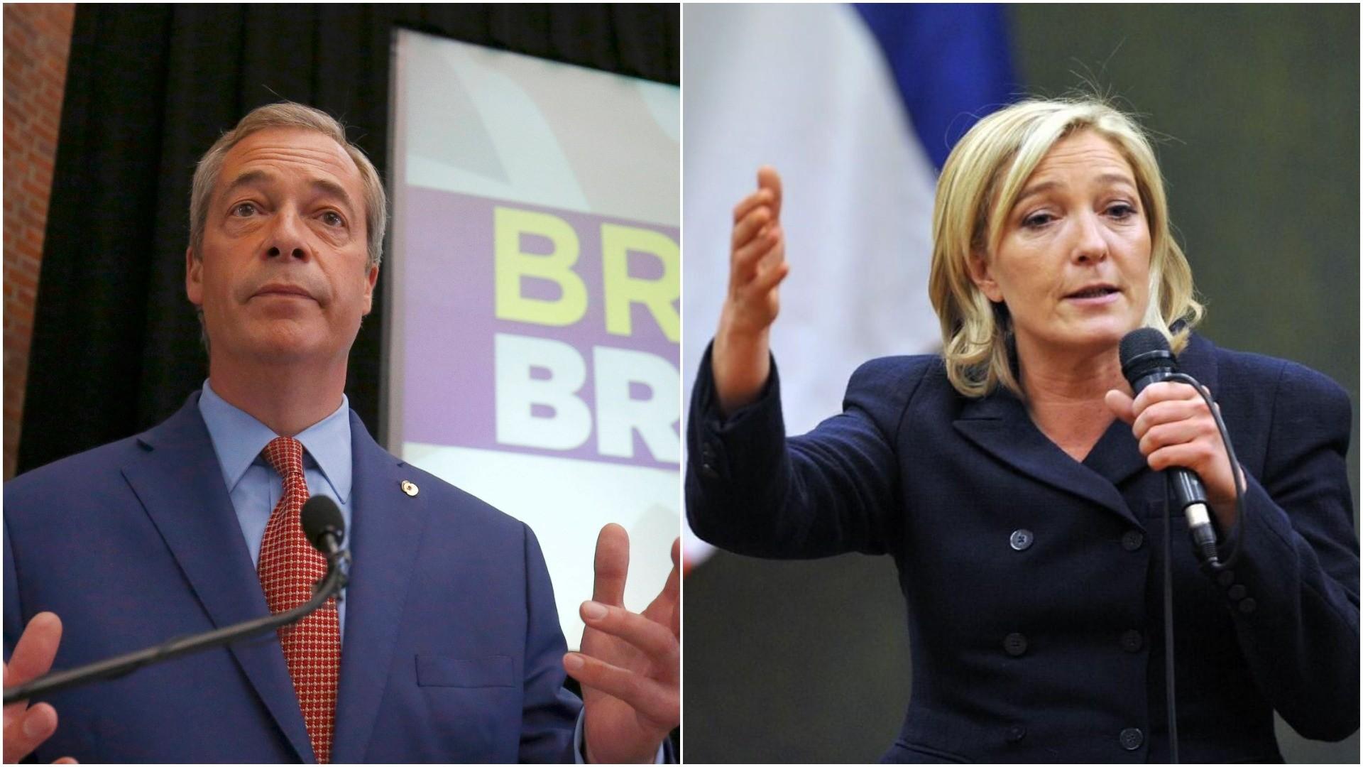 Photo combination shows former UKIP leader Nigel Farage (L) and National Front party leader Marine Le Pen.