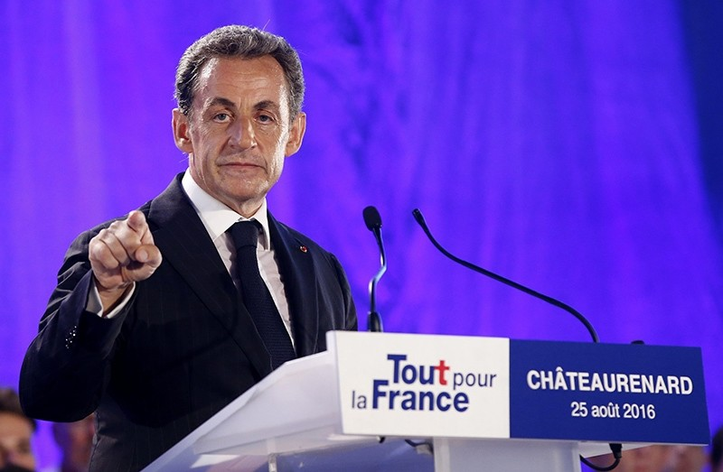 Former French President Nicolas Sarkozy of 'Les Republicains' party speaks during his first political campaign rally in Chateaurenard, France, 25 August 2016 (EPA Photo)