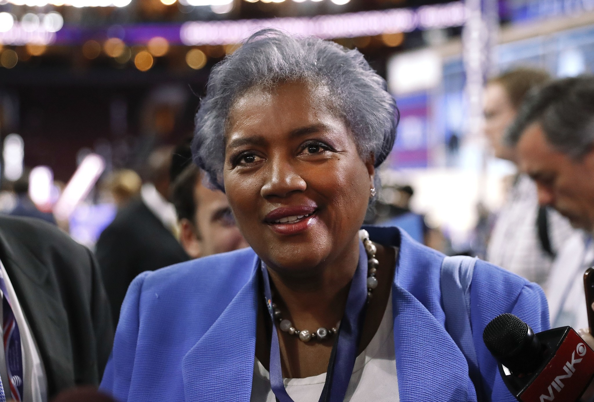 Donna Brazile, interim chair of the Democratic National Committee, appears on the floor of the Democratic National Convention in Philadelphia. (AP Photo)
