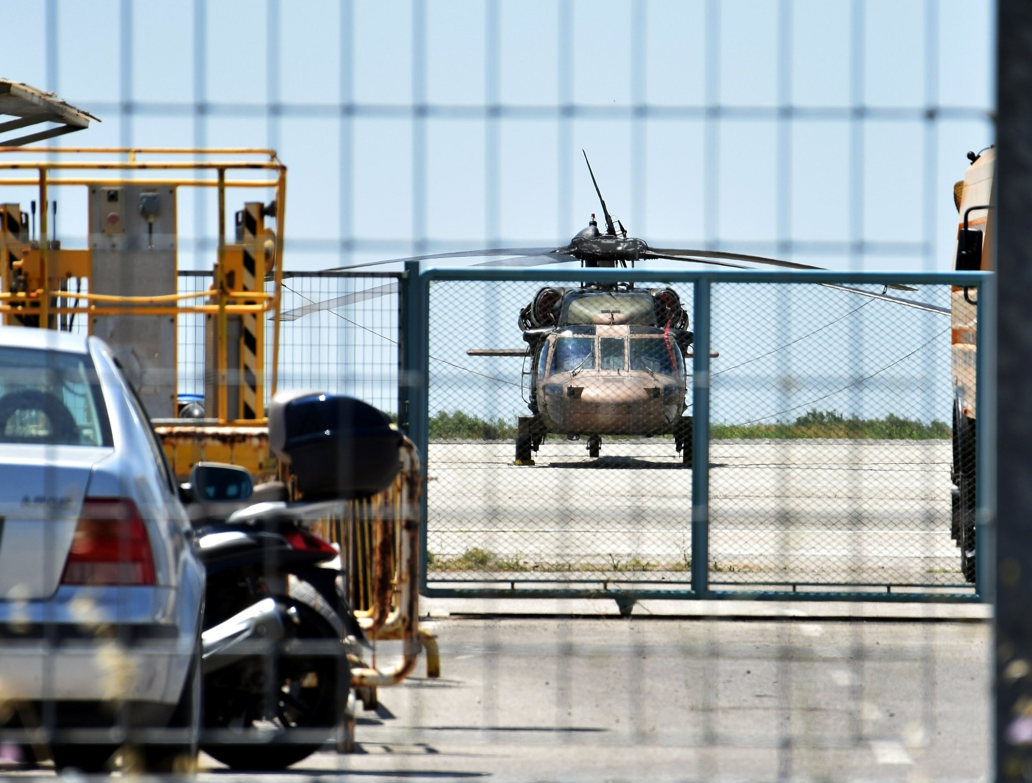 A Turkish military helicopter lands in the northern Greek city of Alexandroupolis with eight men on board who have requested political asylum after the attempted coup in Turkey, July 16, 2016.  (Reuters Photo)