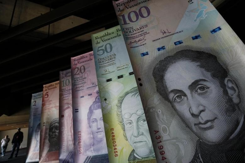 Samples of Venezuela's currencies are displayed at the Central Bank building in Caracas February 10, 2015. (REUTERS Photo)