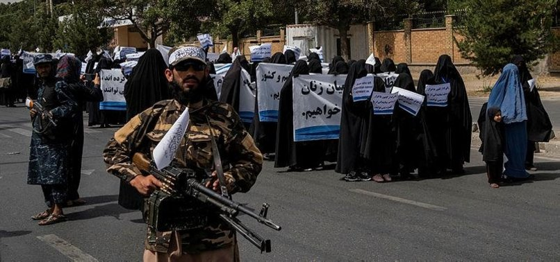DOZENS OF WOMEN RALLY IN SUPPORT OF TALIBAN GOVERNMENT IN KABUL