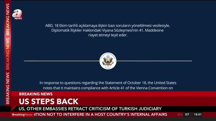 U.S., other embassies retract criticism of Turkish judiciary