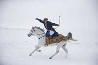 World champion Turkish horseback archery athlete pushes limits in deep snow