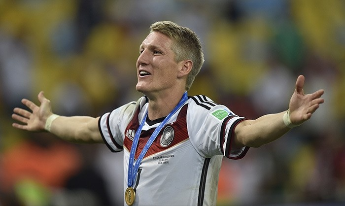 In this July 13, 2014 file photo Germany's Bastian Schweinsteiger celebrates after the World Cup final soccer match between Germany and Argentina at the Maracana Stadium in Rio de Janeiro, Brazil. (AP Photo)