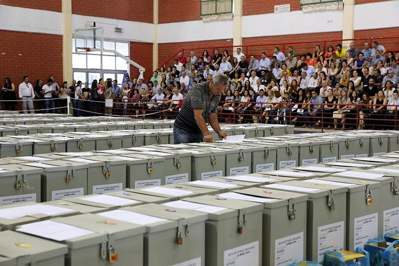 Ballot boxes are lined up at a sports hall in Nicosia, Cyprus. (EPA photo)