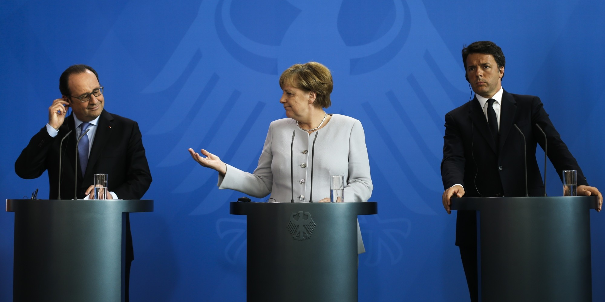 Hollande (L), Merkel (C) and Renzi