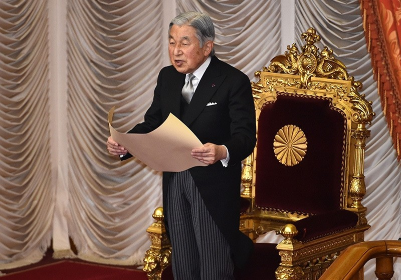 This file picture taken on January 4, 2016 shows Japanese Emperor Akihito delivering a speech during the opening ceremony of a 150-day ordinary Diet session in Tokyo. (AFP Photo)