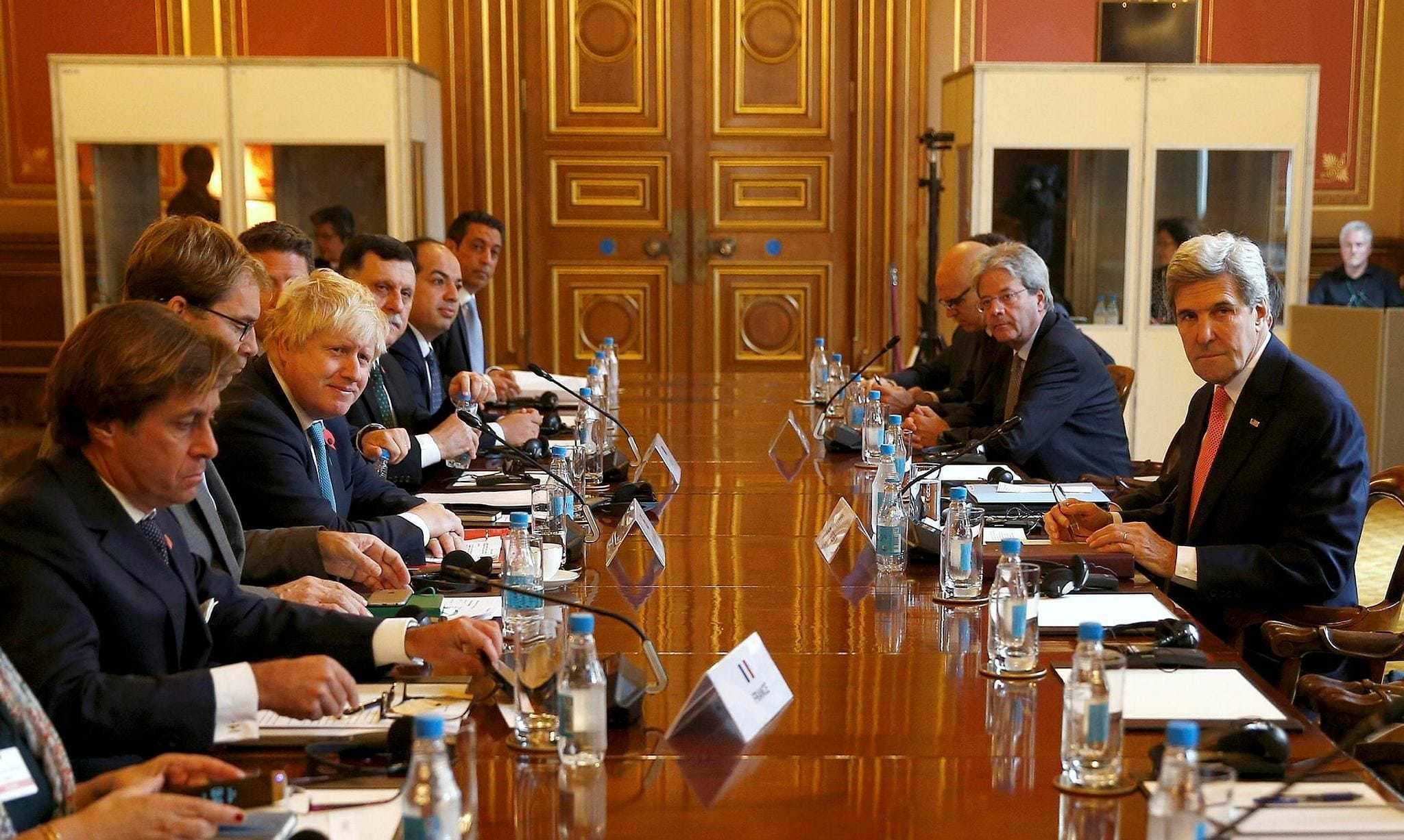U.S. Secretary of State John Kerry attends the Libyan Ministerial meeting with Britain's Foreign Secretary Boris Johnson and Libya's Prime Minister and Deputy Prime minister, at the Foreign and Commonwealth Office in London, Britain, Oct. 31.
