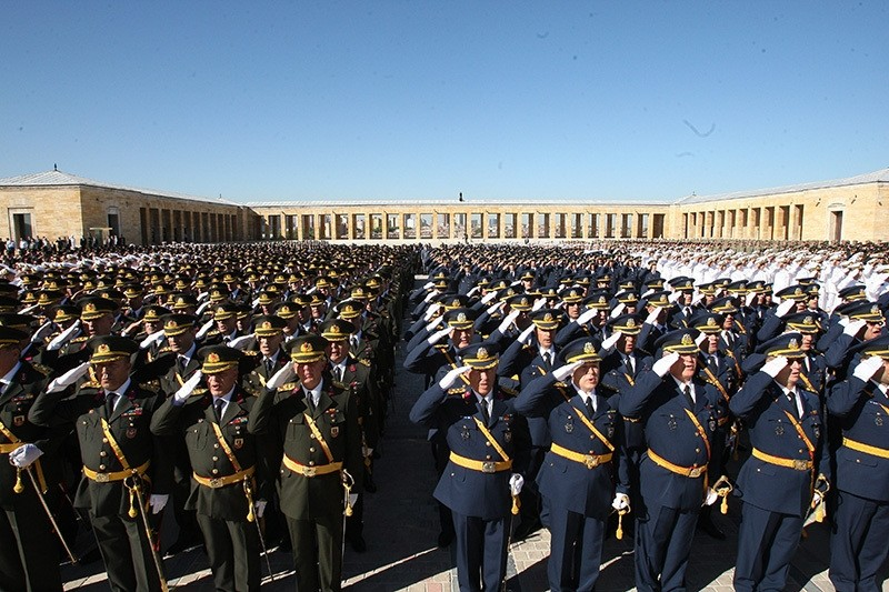 This file photo dated August 30, 2012 shows Turkish military officers lined up for the Victory Day ceremony at the courtyard of Republic's founder Mustafa Kemal Atatu00fcrk. (Photo: Sabah / Ali Ekeyu0131lmaz)