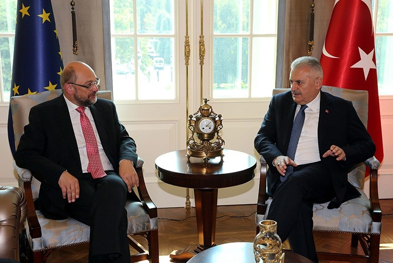 In this file photo from September 9, 2016, Prime Minister Yu0131ldu0131ru0131m and Schulz hold a meeting at Prime Ministry Office in Ankara (AA Photo)