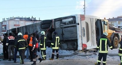 pA bus carrying 44 students overturned across a terminal in the Chinabeyli district of Turkey's central province of Konya due to ice, killing two students and injuring 42 others on Friday...