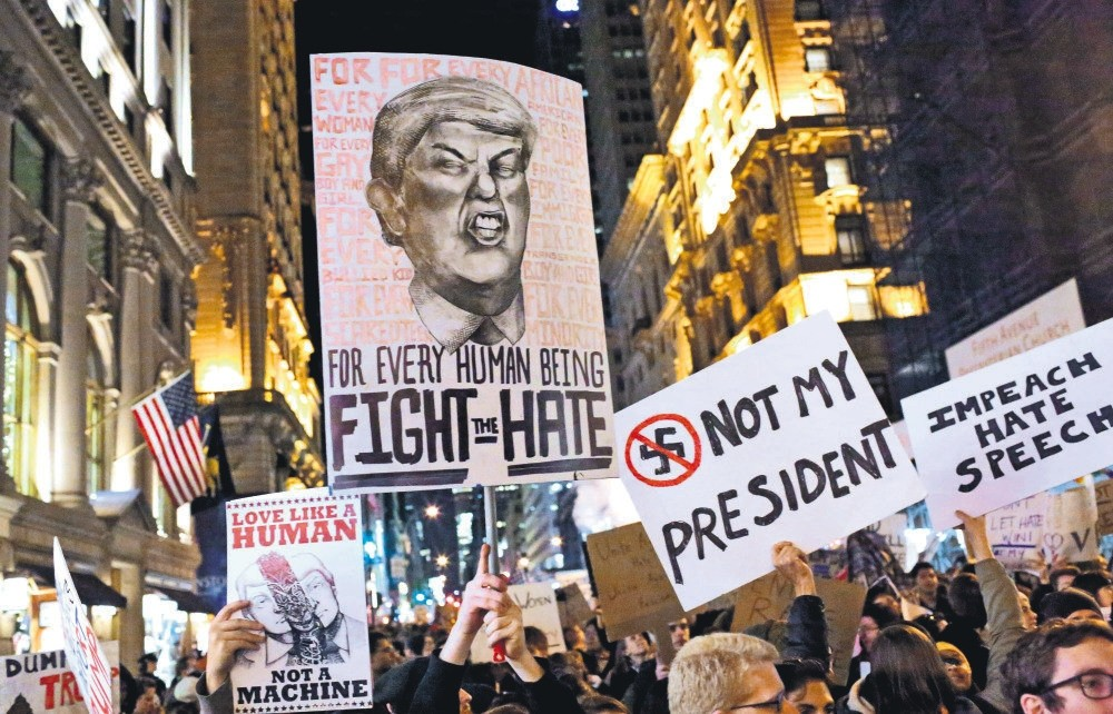 A crowd marching from Union Square to Trump Tower in protest of President-elect Donald Trump on Nov. 12, 2016 in New York.
