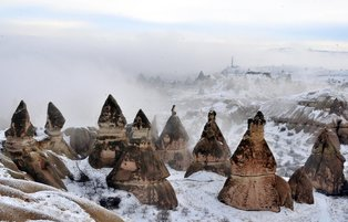 Snow blankets lure tourists in Cappadocia, Turkey
