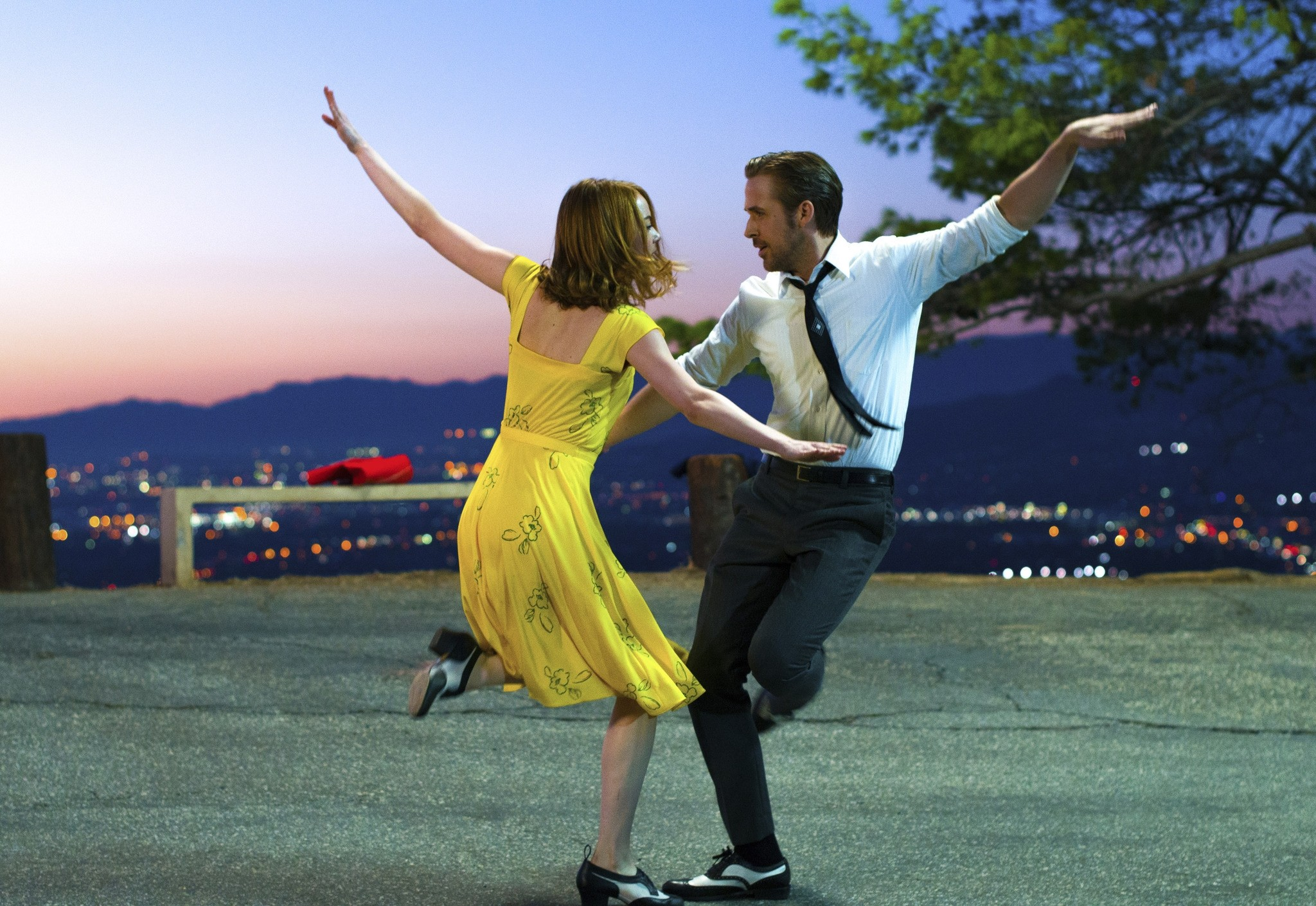 This image released by Lionsgate shows Ryan Gosling, right, and Emma Stone in a scene from, ,La La Land., The film was nominated for an Oscar for best picture on Tuesday, Jan. 24, 2017. The 89th Academy Awards will take place on Feb. 26. (AP Photo)
