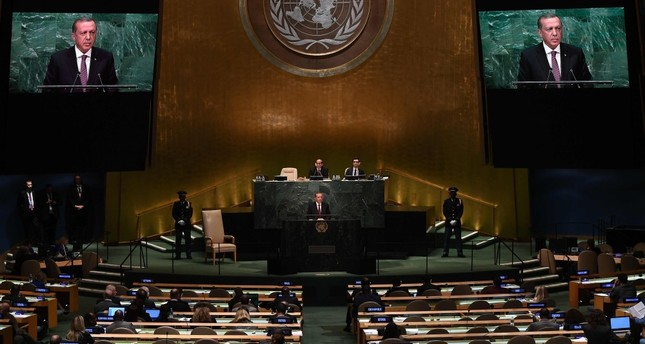 President Recep Tayyip Erdoğan addressing the 71st session of the United Nations General Assembly at UN headquarters in New York on Sept. 20, 2016.