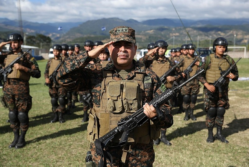 Members of the joint security force attend the launching ceremony in Nueva Ocotepeque, Honduras. (EPA Photo)