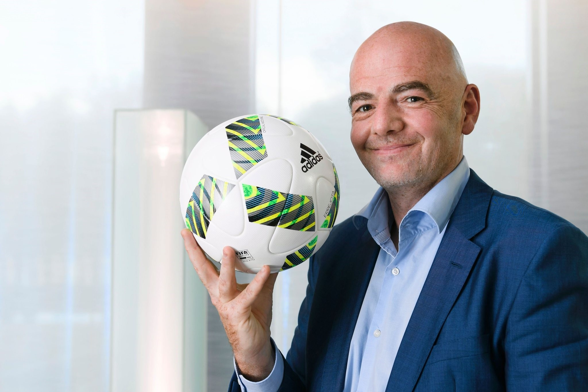 FIFA president Gianni Infantino poses for a picture during a interview with AFP on October 5, 2016 at the world football's governing body headquarters in Zurich. (AFP Photo)