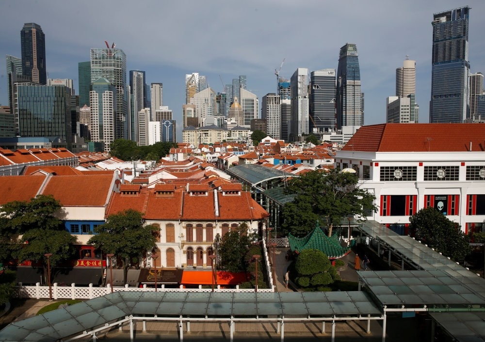 A general view of the skyline of the central business district in Singapore.