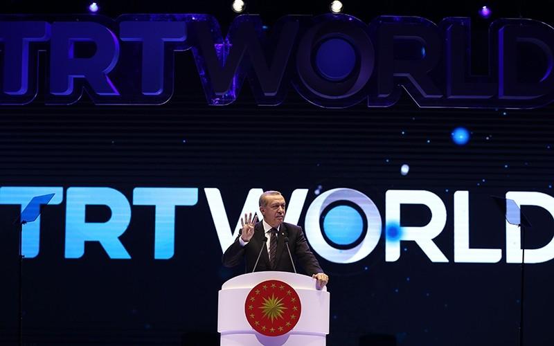 President Erdou011fan spaks at the TRT World Gala held in Ankara on Nov. 15, 2016. (AA Photo)