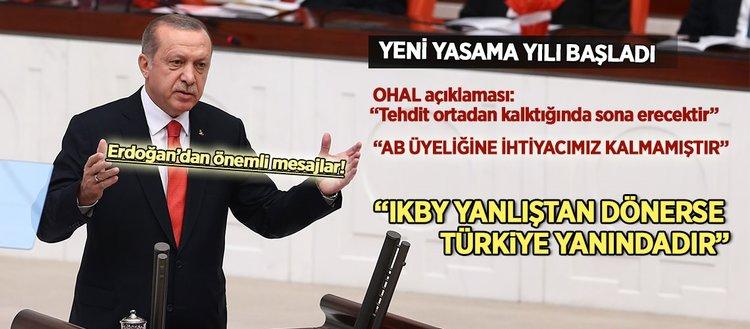 Erdoğan'dan yeni yasama yılında önemli mesajlar