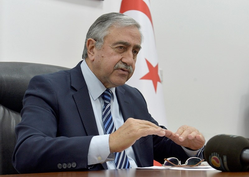 Turkish Republic of Northern Cyprus (TRNC) President Mustafa Aku0131ncu0131 holds a press conference at Ercan Airport. (AA Photo)