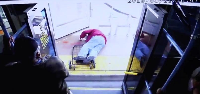 VEGAS POLICE RELEASE VIDEO OF WOMAN PUSHING ELDERLY MAN OFF OF BUS