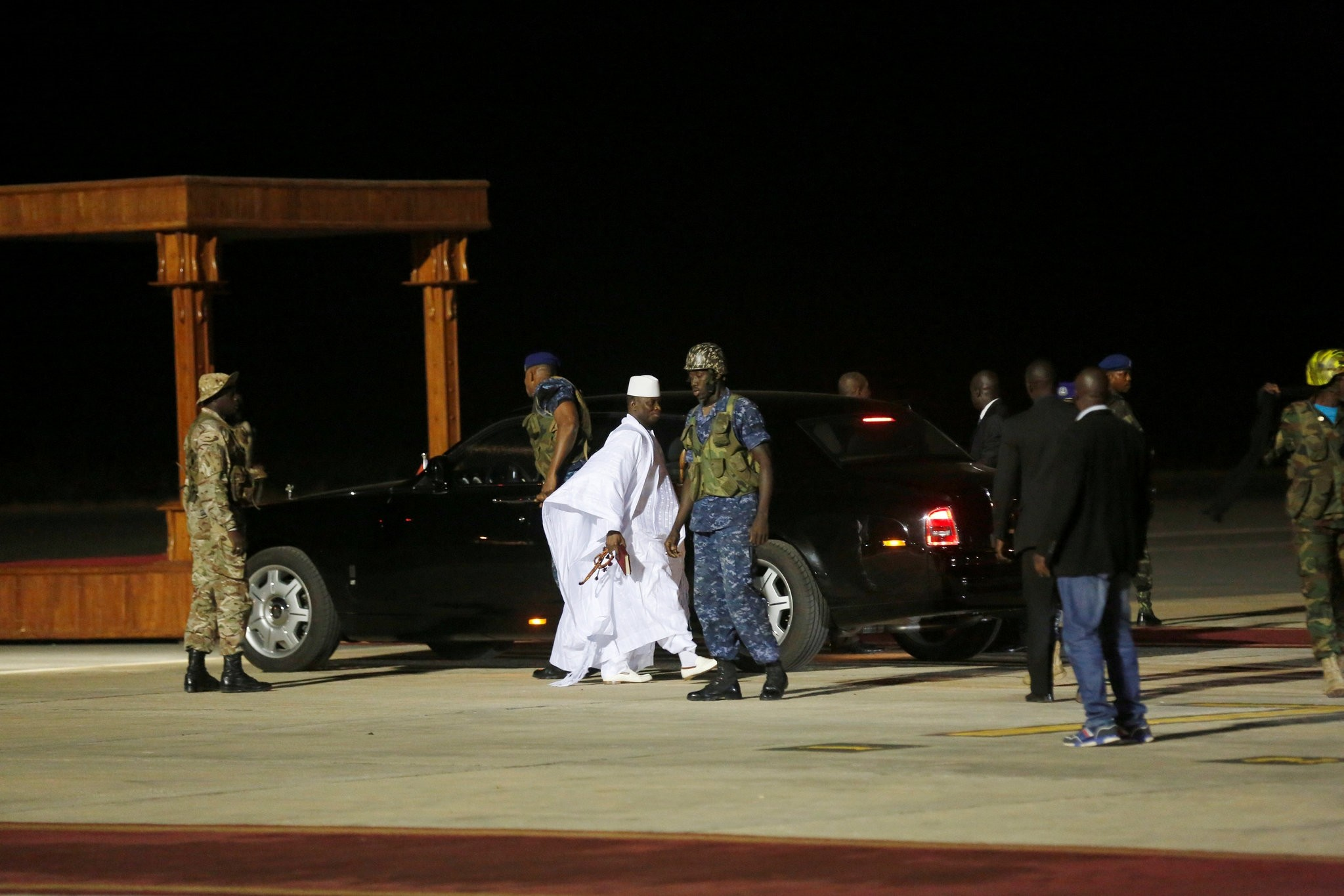 Former Gambian President Yahya Jammeh arrives at the airport before flying into exile from Gambia, January 21, 2017. (REUTERS Photo)