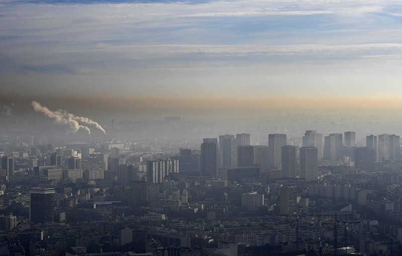 A partial view of Paris as the French capital struggles with a surge in pollution. Dec. 9, 2016. (AFP Photo)