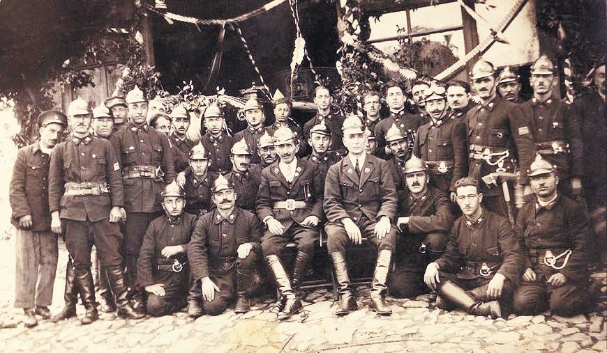 Ottoman fire fighters after an official fire department affiliated to the military was established in the first half of the 19th century.