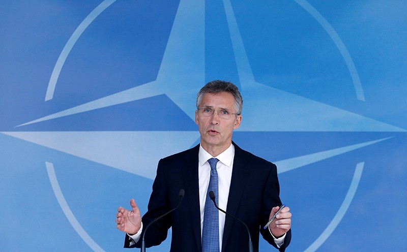 NATO Secretary-General Jens Stoltenberg briefs the media during a NATO defence ministers meeting at the Alliance headquarters in Brussels (Reuters Photo)