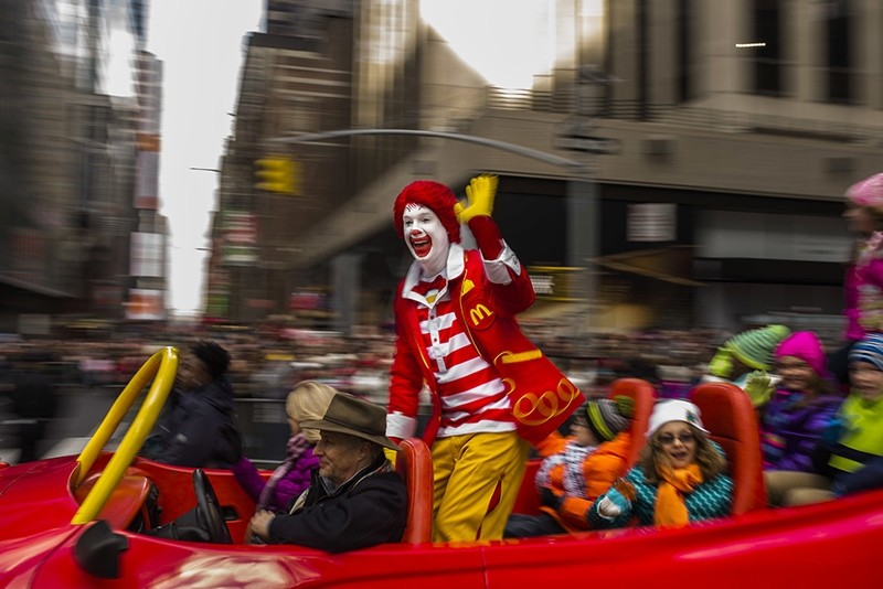 In this Thursday, Nov. 26, 2015, file photo, Ronald McDonald waves to the crowd during the Macy's Thanksgiving Day Parade, in New York (AP Photo)
