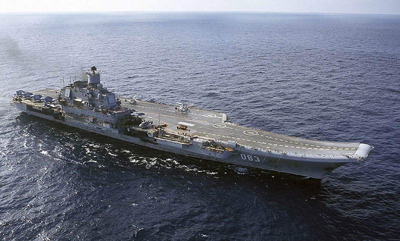 In this 2004 file photo the Admiral Kuznetsov carrier sails in the Barents Sea, Russia. (AP Photo)