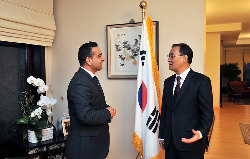 Daily Sabah's Ali u00dcnal (Left) with Korean Ambassador to Ankara Mr. Yunsoo Cho (Right)