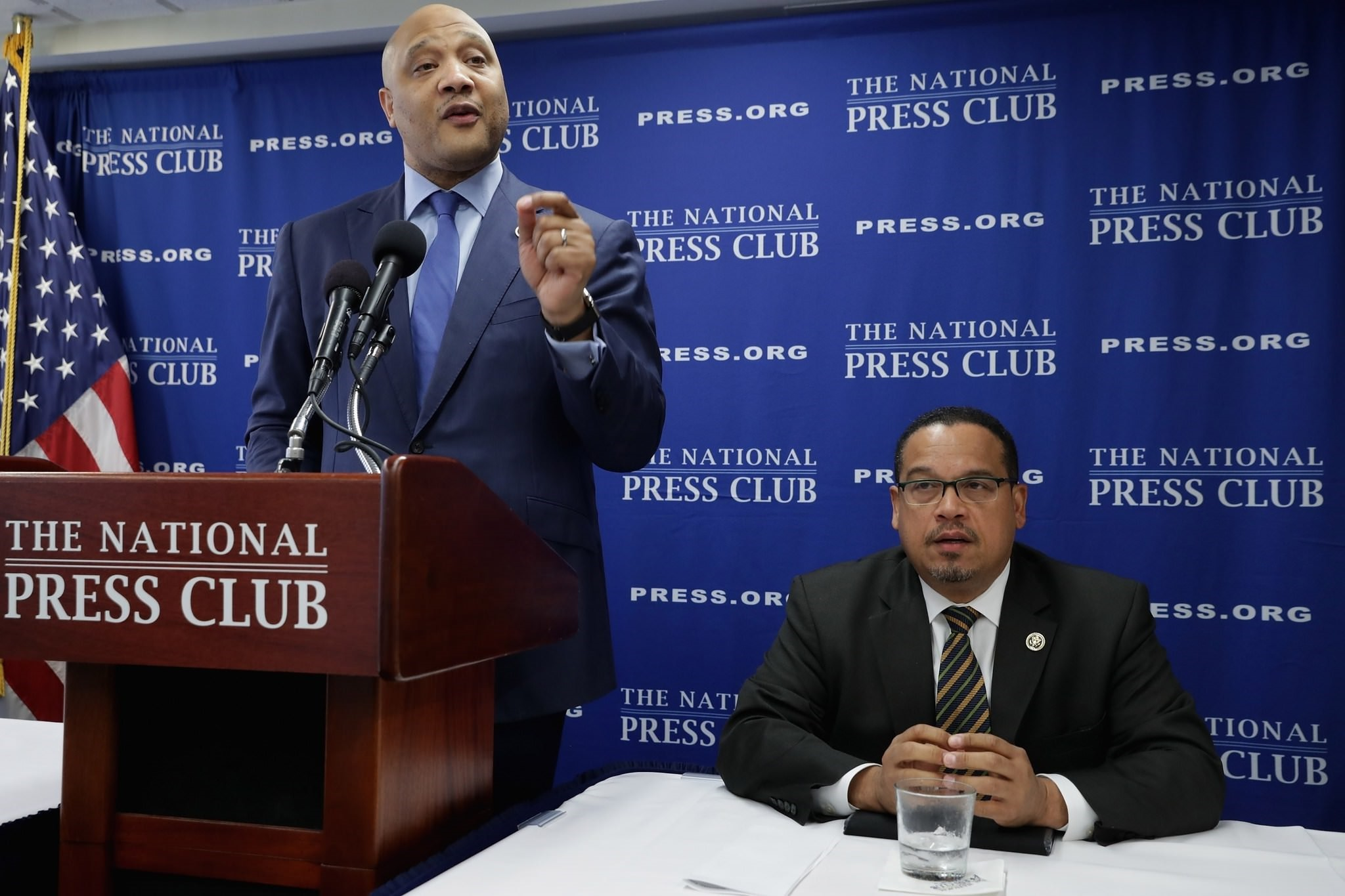 The only two Muslim members of Congres, Rep. Keith Ellison (D-MN) (R) and Rep. Andre Carson (D-IN) (Getty/AFP Photo)